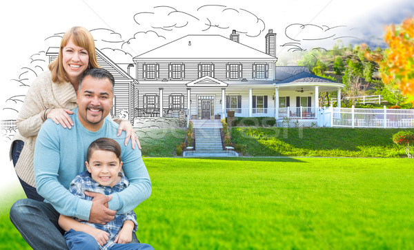 Mixed Race Hispanic and Caucasian Family In Front of Gradation o Stock photo © feverpitch