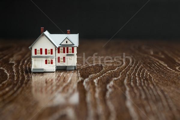 Modèle maison réfléchissant bois surface Photo stock © feverpitch