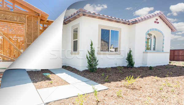 Completed House with Page Corner Flipping to Construction Framin Stock photo © feverpitch