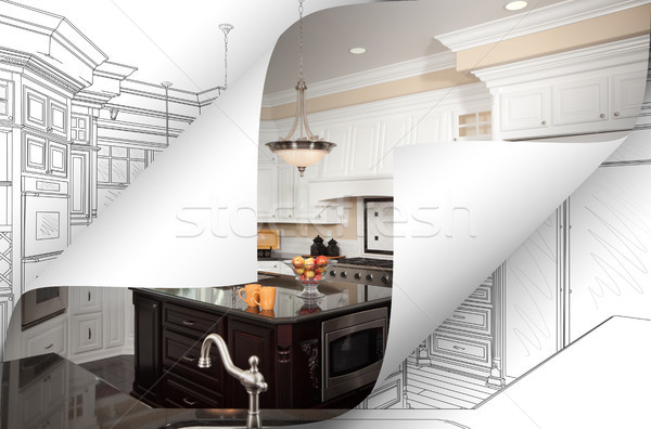 Kitchen Photo Page Corners Flipping with Drawing Behind Stock photo © feverpitch