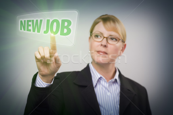 Donna spingendo pulsante interattivo touch screen Foto d'archivio © feverpitch