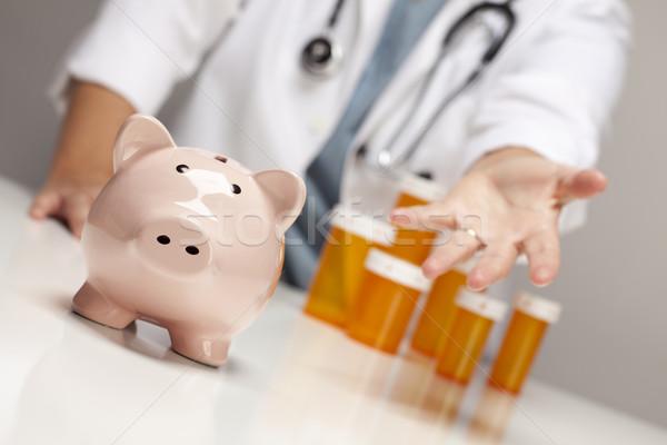 Stockfoto: Arts · palm · uit · achter · geneeskunde · flessen