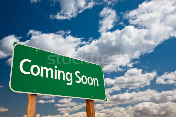 Coming Soon Green Road Sign Stock photo © feverpitch
