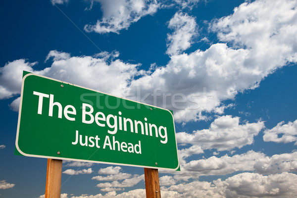 The Beginning Green Road Sign Stock photo © feverpitch