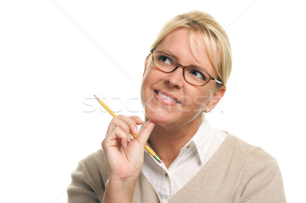 Stock photo: Beautiful Woman with Pencil