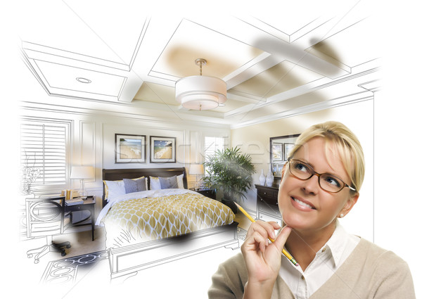 Daydreaming Woman With Pencil Over Custom Bedroom Photo Thought  Stock photo © feverpitch