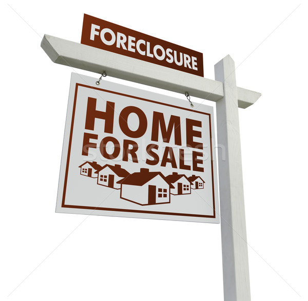 White Foreclosure Home For Sale Real Estate Sign on White Stock photo © feverpitch