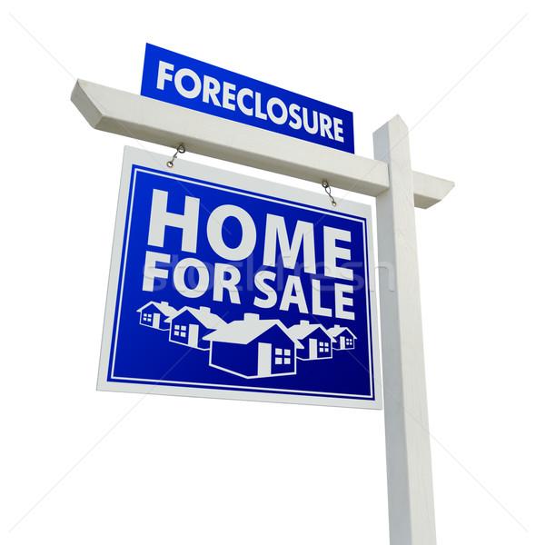 Kék zálogjog érvényesítése otthon vásár ingatlan felirat Stock fotó © feverpitch