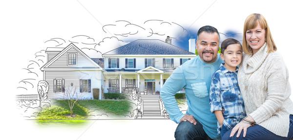 Stockfoto: Jonge · halfbloed · familie · huis · tekening · gelukkig