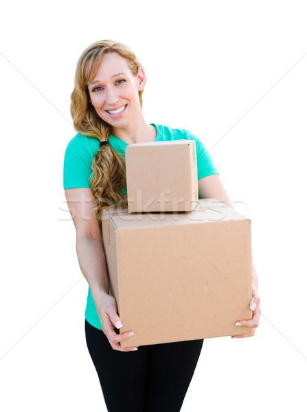 Mosolyog fiatal felnőtt nő tart költözködő dobozok izolált Stock fotó © feverpitch