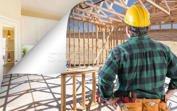 Beszállító szemben építkezés oldal sarok papír Stock fotó © feverpitch