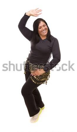 çekici koyu esmer kadın dans zumba beyaz Stok fotoğraf © feverpitch