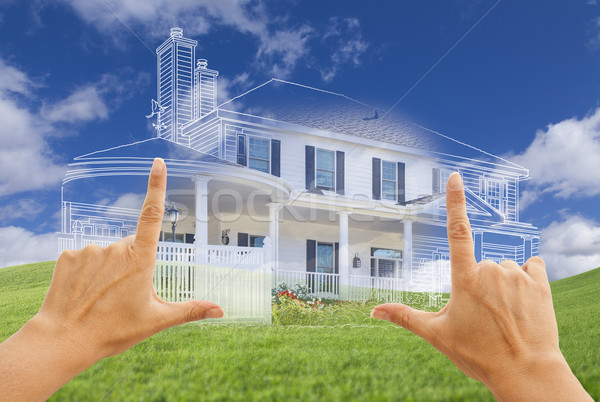 Female Hands Framing House Drawing and House Above Grass Stock photo © feverpitch