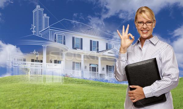 üzletasszony készít oké kézjel ház rajz Stock fotó © feverpitch