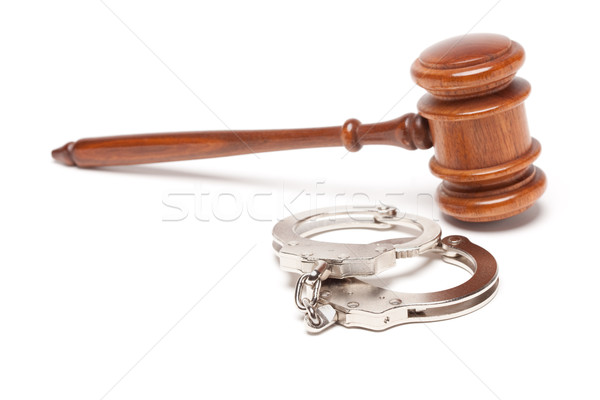 Gavel and Handcuffs on White Stock photo © feverpitch
