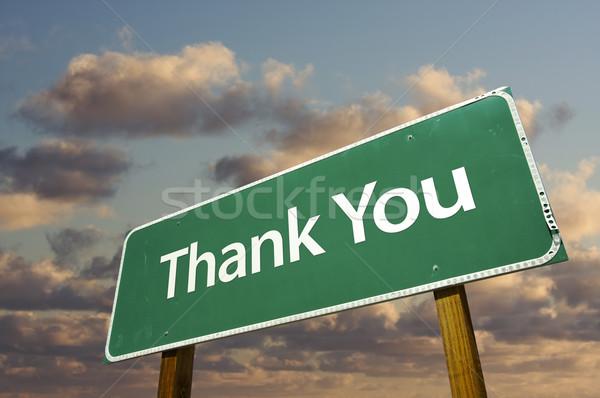 Сток-фото: спасибо · зеленый · дорожный · знак · облака · драматический