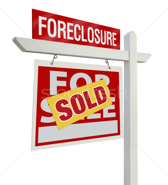 Sold Foreclosure Real Estate Sign Isolated - Left Stock photo © feverpitch
