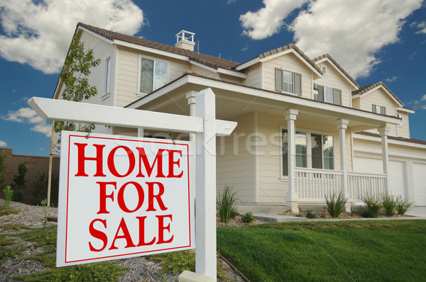 Stock photo: Home For Sale Sign & New Home