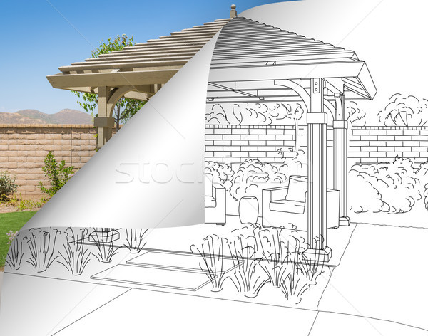 Pergola Drawing with Page Flipping to Completed Photo Behind Stock photo © feverpitch