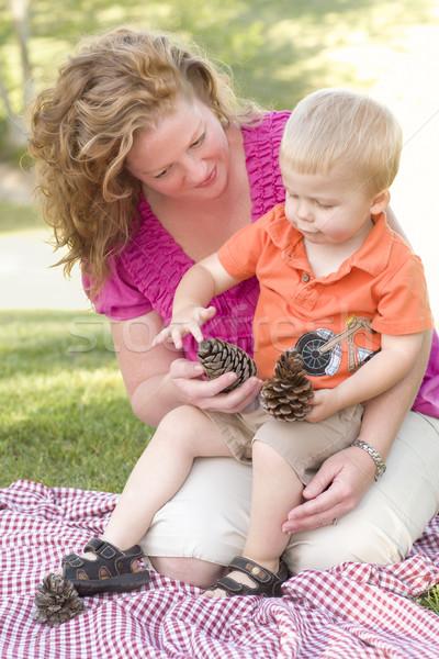 Moeder zoon praten pine park aantrekkelijk Stockfoto © feverpitch