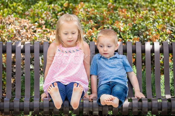 Young Sister and Brother Having Fun On The Bench At The Park Stock photo © feverpitch