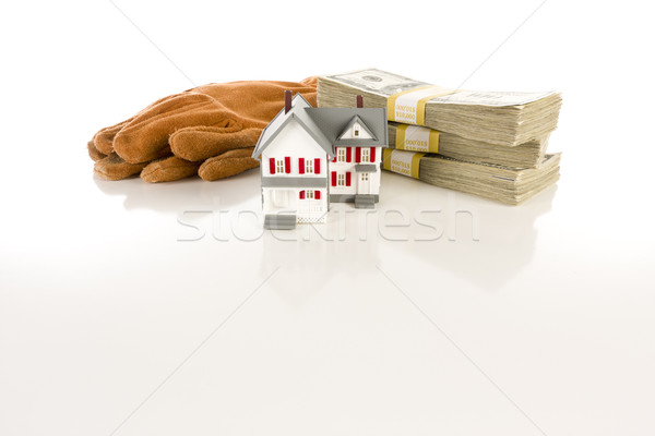 Stacks of Hundreds with Work Gloves and Small House Stock photo © feverpitch