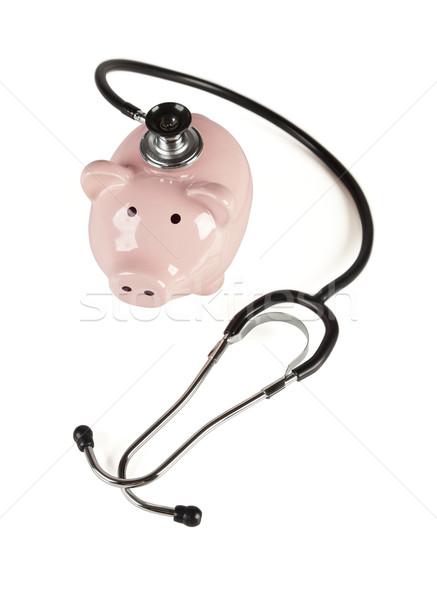 Foto stock: Alcancía · estetoscopio · aislado · blanco · negocios · salud