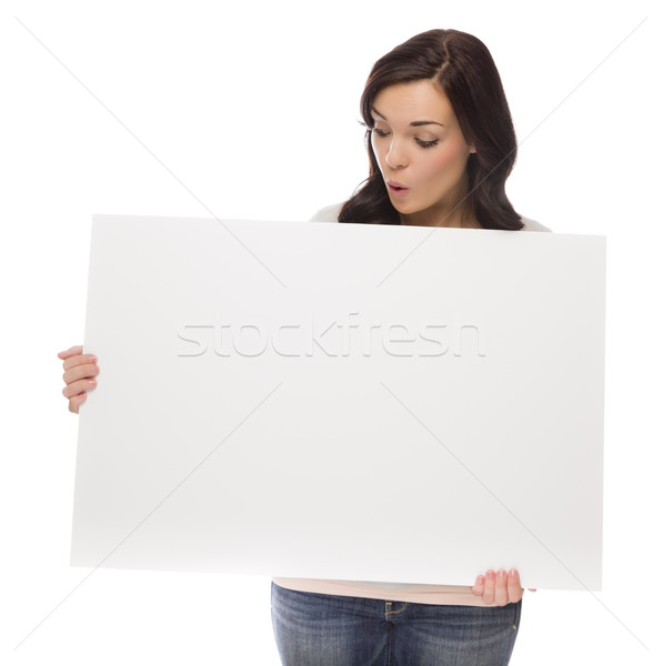 Mixed Race Female Holding Blank Sign on White
