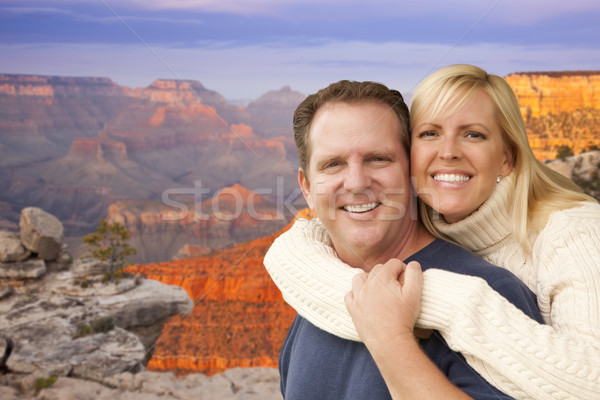 Happy Affectionate Couple at the Grand Canyon Stock photo © feverpitch