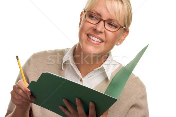 Bela mulher lápis dobrador papel escolas Foto stock © feverpitch