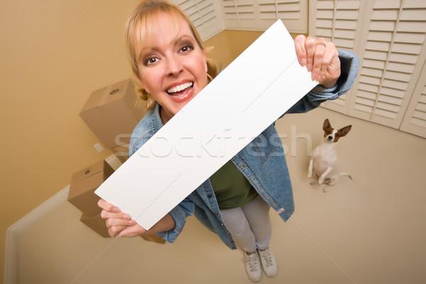 Nő kutyus üres tábla költözködő dobozok izgatott üres szoba Stock fotó © feverpitch
