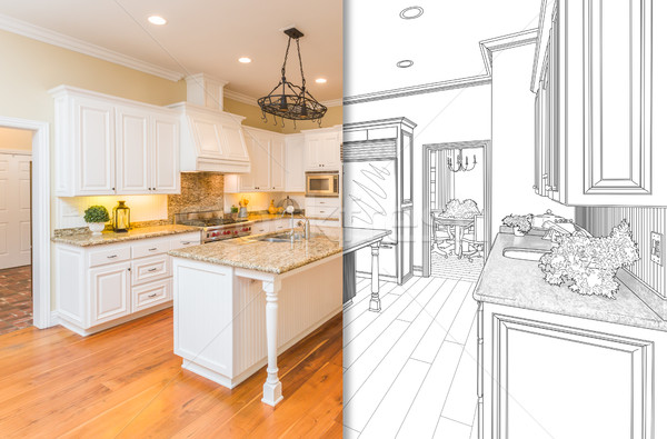 Split Screen Of Drawing and Photo of New Kitchen Stock photo © feverpitch