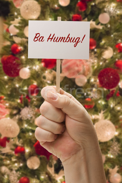 Hand Holding Ba Humbug Card In Front of Decorated Christmas Tree Stock photo © feverpitch