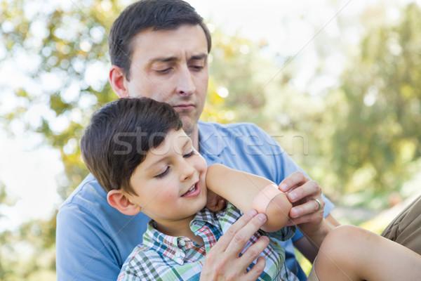 愛する 父 包帯 肘 小さな ストックフォト © feverpitch