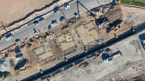 Drone Aerial View of Home Construction Site Early Stage. Stock photo © feverpitch