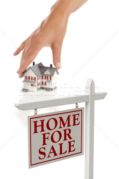 Stockfoto: Hand · kiezen · home · onroerend · teken