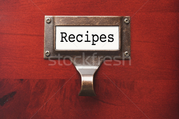 Stock photo: Lustrous Wooden Cabinet with Recipes File Label