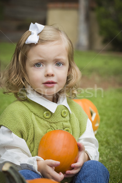 Cute Young Child Girl Enjoying the Pumpkin Patch. Stock photo © feverpitch