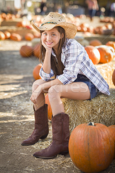 Preteen Girl Portrait at the Pumpkin Patch Stock photo © feverpitch