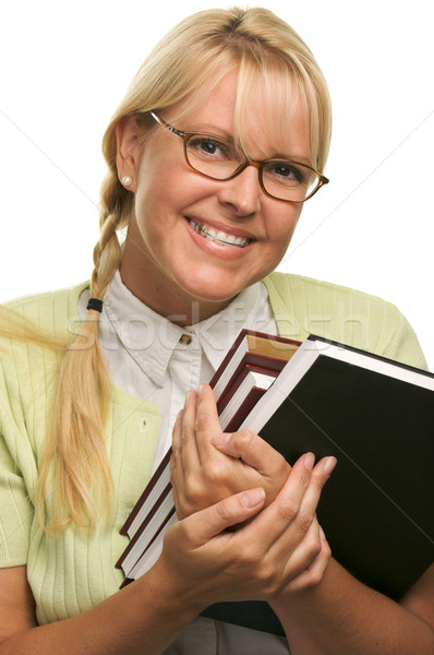 Cute Student with Retainer Carrying Her Books Stock photo © feverpitch