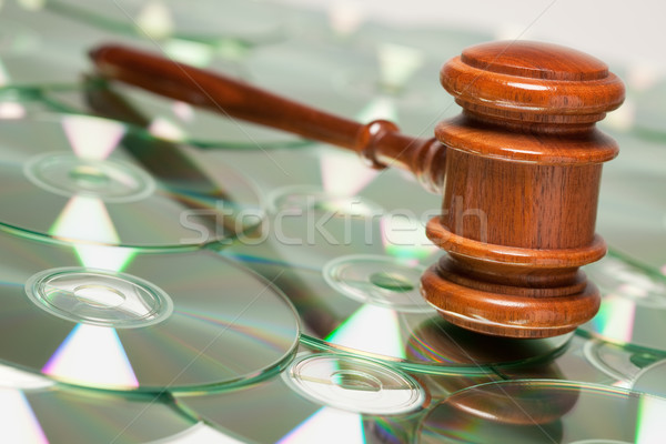 CD ROM or DVD Discs and Gavel Stock photo © feverpitch