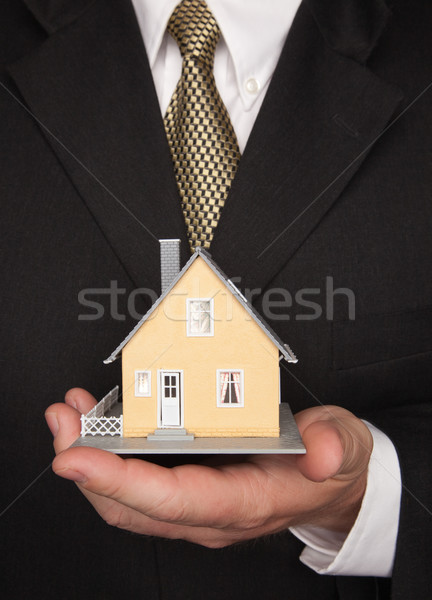 Businessman Holding House Stock photo © feverpitch