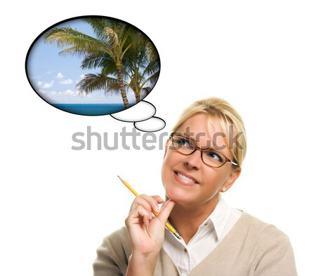 Stock photo: Beautiful Woman and Blank Thought Bubbles and Pencil