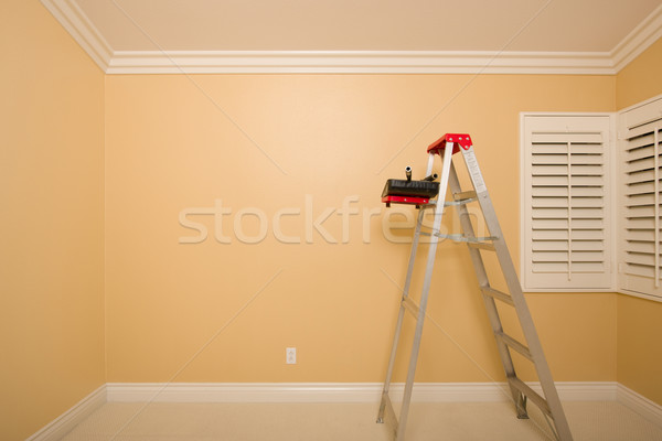 Empty Room with Ladder, Paint Tray and Rollers Stock photo © feverpitch