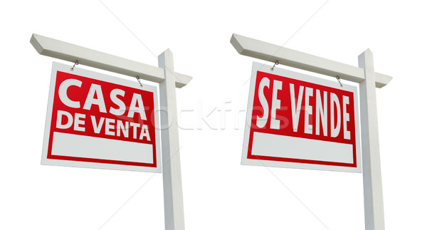 Two Spanish Real Estate Signs with Clipping Paths on White Stock photo © feverpitch