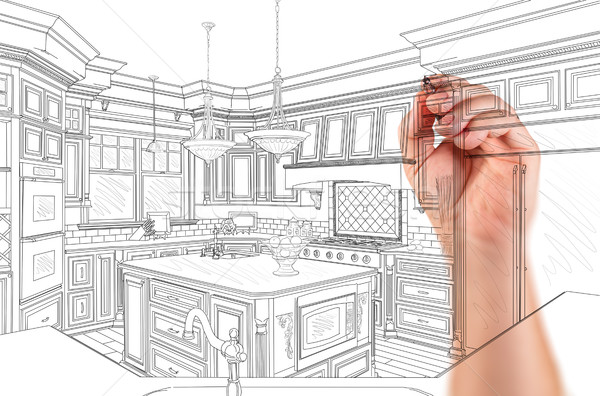Hand of Architect Drawing Detail of Custom Kitchen Design Stock photo © feverpitch