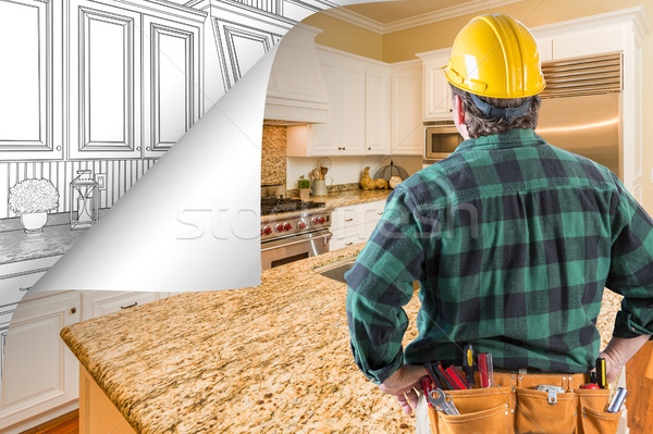 Contractor Facing Kitchen Photo with Page Corner Flipping to Dra Stock photo © feverpitch