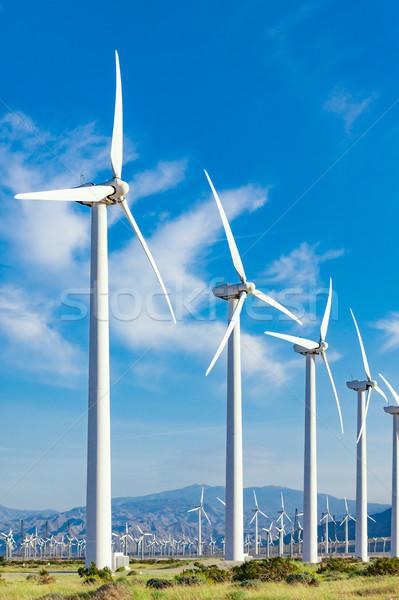Stockfoto: Dramatisch · windturbine · boerderij · woestijn · Californië · wolken
