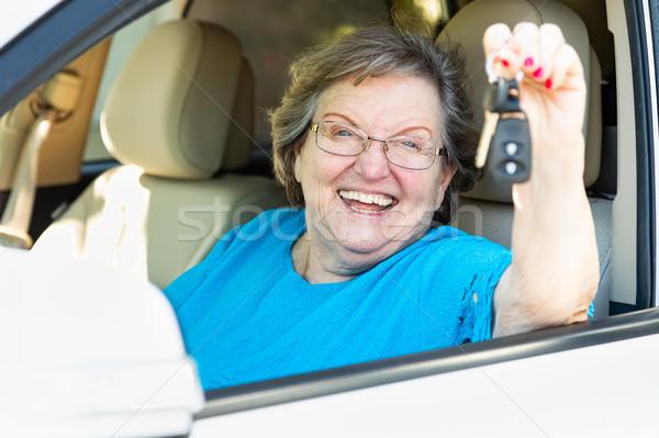 счастливым старший женщину сидят Новый автомобиль Сток-фото © feverpitch
