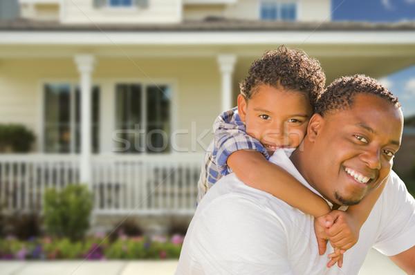 Stok fotoğraf: Baba · oğul · ev · mutlu